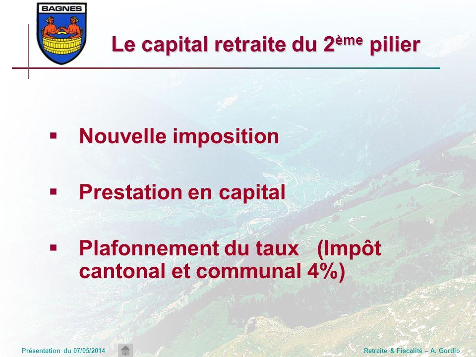 Présentation du 07/05/2014Retraite & Fiscalité – A. Gordio Le capital retraite du 2 ème pilier Nouvelle imposition Prestation en capital Plafonnement