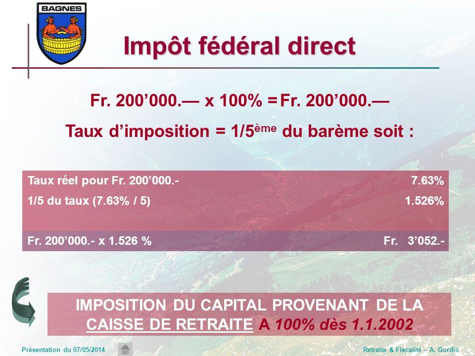 Présentation du 07/05/2014Retraite & Fiscalité – A. Gordio Fr. 200000. x 100% =Fr. 200000. Taux dimposition = 1/5 ème du barème soit : Impôt fédéral d
