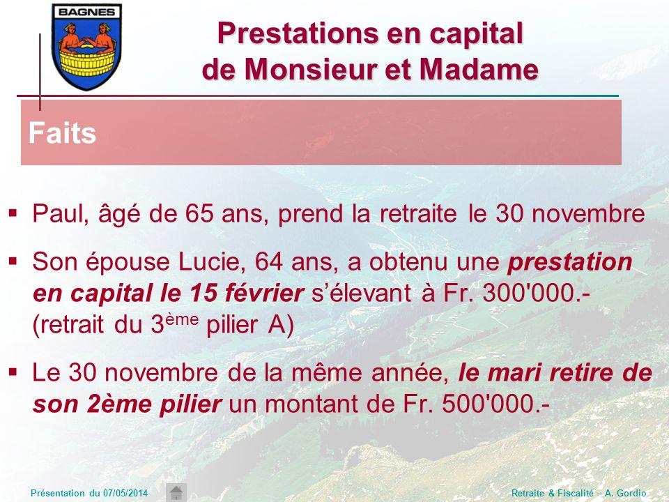 Présentation du 07/05/2014Retraite & Fiscalité – A. Gordio Prestations en capital de Monsieur et Madame Paul, âgé de 65 ans, prend la retraite le 30 n