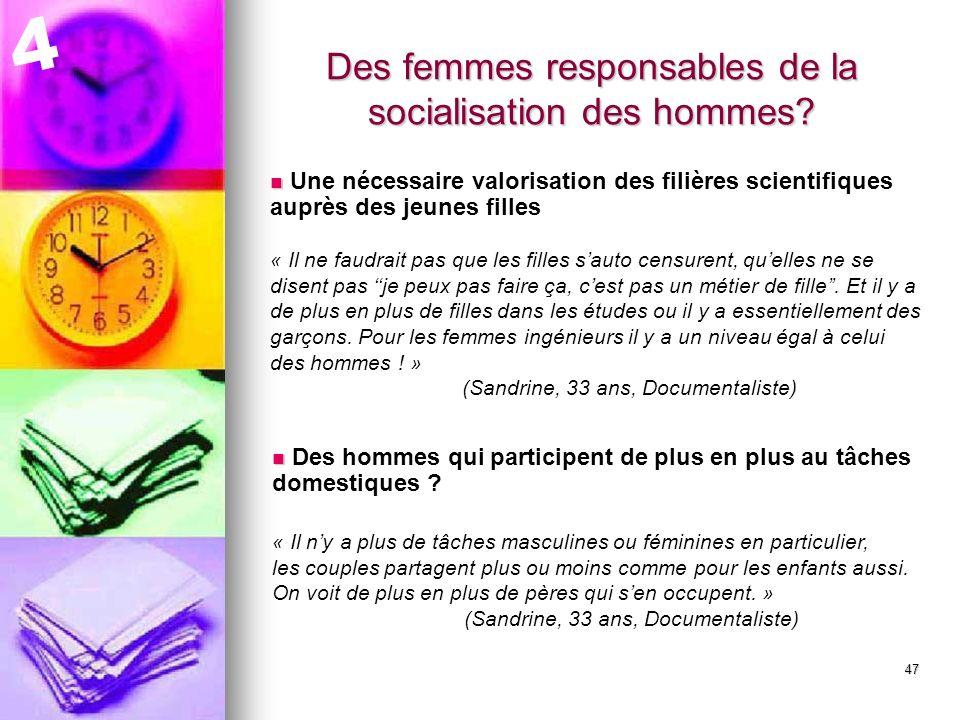 48 Des femmes responsables de la socialisation des hommes.