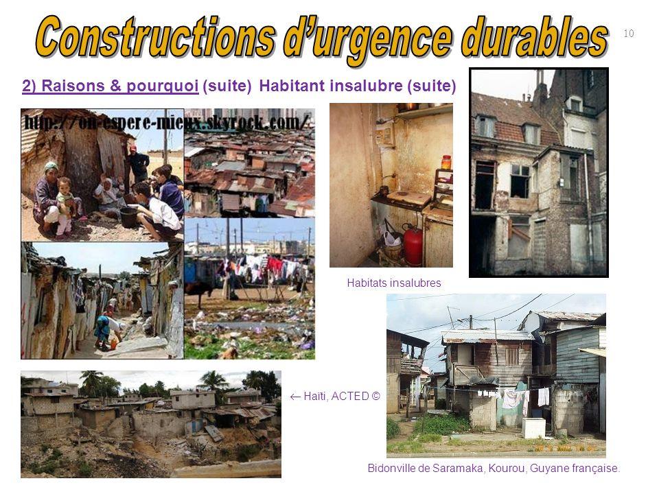10 2) Raisons & pourquoi (suite) Bidonville de Saramaka, Kourou, Guyane française. Haïti, ACTED © Habitats insalubres Habitant insalubre (suite)