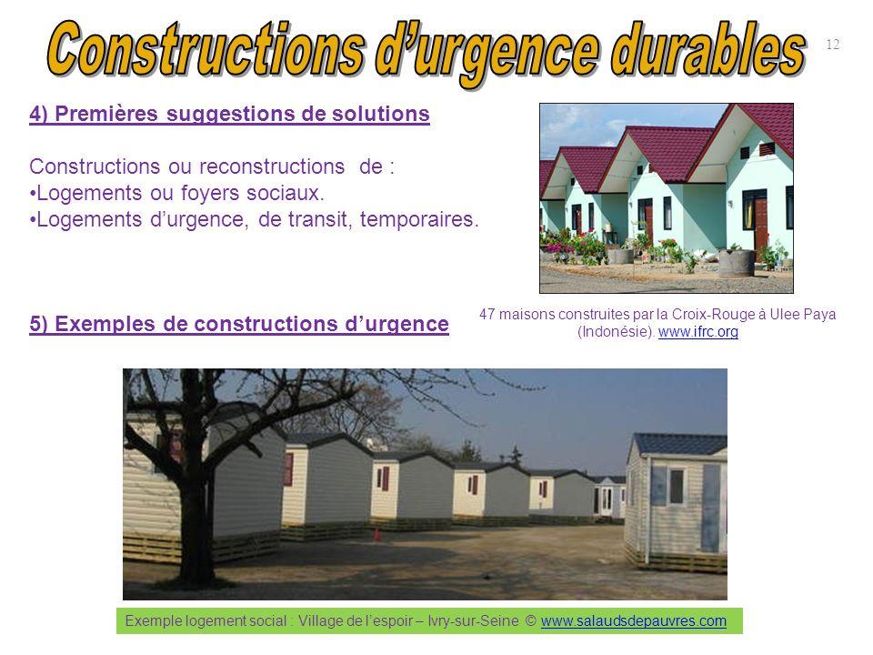 12 4) Premières suggestions de solutions Constructions ou reconstructions de : Logements ou foyers sociaux. Logements durgence, de transit, temporaire