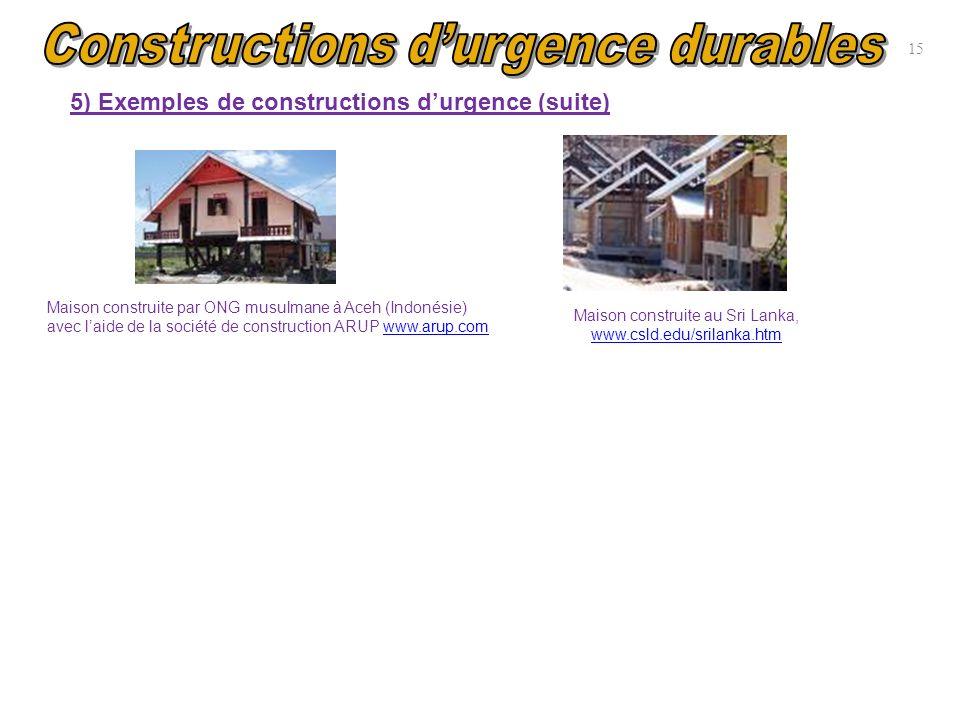 15 5) Exemples de constructions durgence (suite) Maison construite par ONG musulmane à Aceh (Indonésie) avec laide de la société de construction ARUP