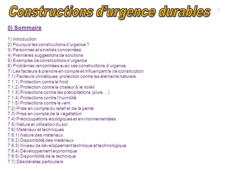 0) Sommaire 1) Introduction 2) Pourquoi les constructions durgence ? 3) Personnes et sinistrés concernées 4) Premières suggestions de solutions 5) Exe