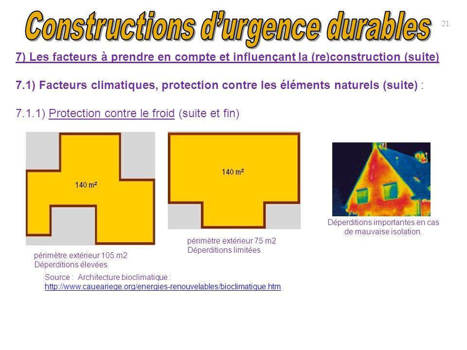21 7) Les facteurs à prendre en compte et influençant la (re)construction (suite) 7.1) Facteurs climatiques, protection contre les éléments naturels (