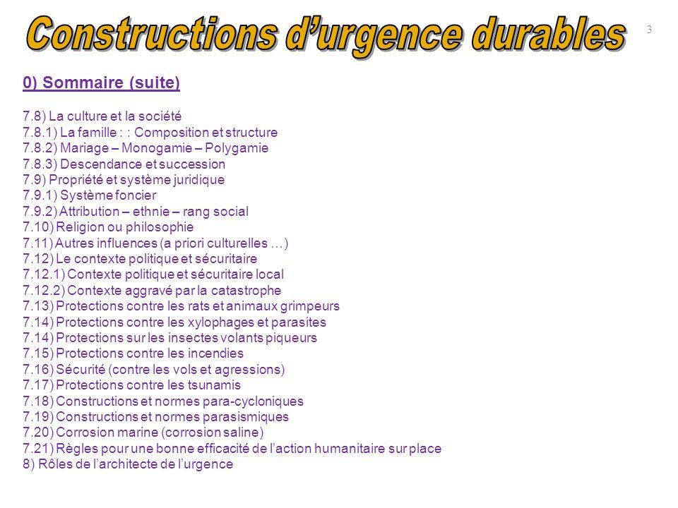 10) Annexe : Buts de la construction durgence (rappel) Construire des maisons durables, écologiques et esthétiques.