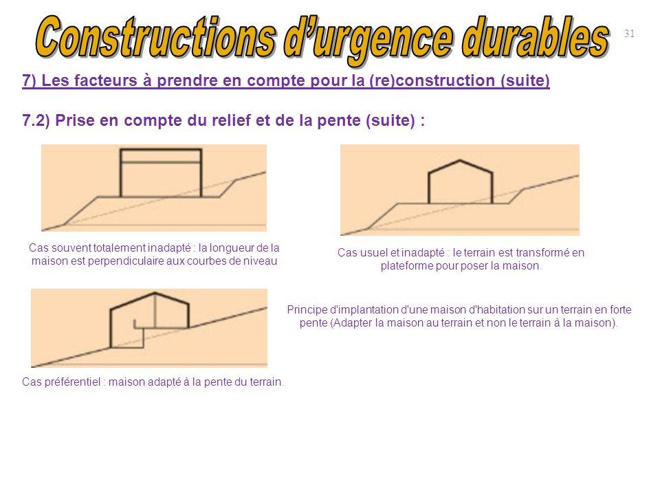 31 7) Les facteurs à prendre en compte pour la (re)construction (suite) 7.2) Prise en compte du relief et de la pente (suite) : Cas souvent totalement