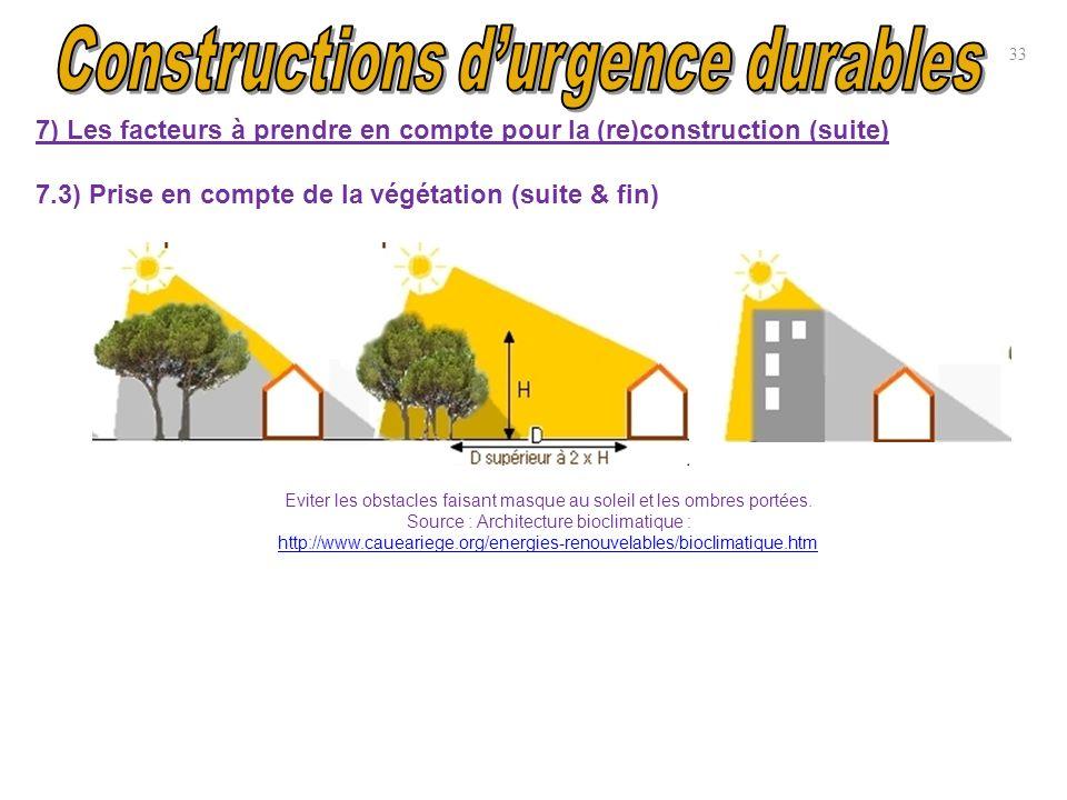 33 7) Les facteurs à prendre en compte pour la (re)construction (suite) 7.3) Prise en compte de la végétation (suite & fin) Eviter les obstacles faisa