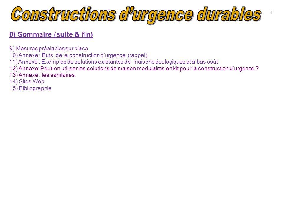 0) Sommaire (suite & fin) 9) Mesures préalables sur place 10) Annexe : Buts de la construction durgence (rappel) 11) Annexe : Exemples de solutions ex