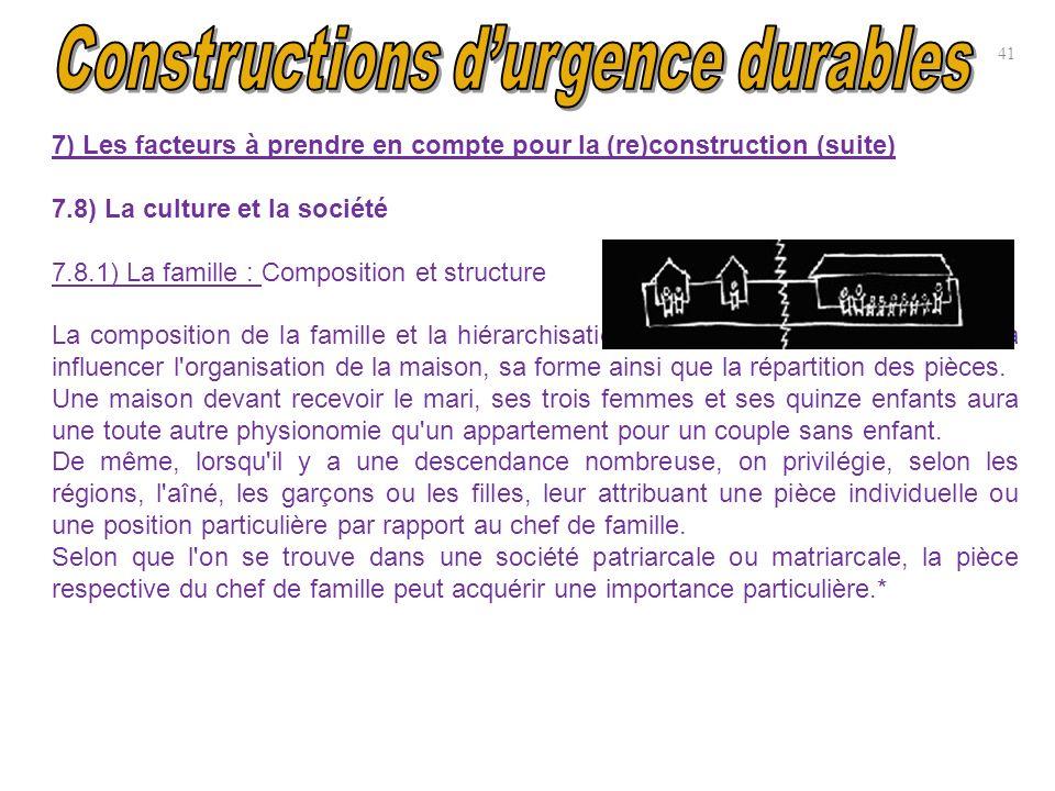 7) Les facteurs à prendre en compte pour la (re)construction (suite) 7.8) La culture et la société 7.8.1) La famille : Composition et structure La com