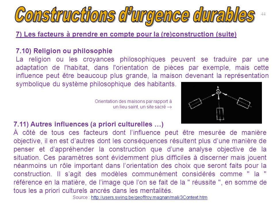 7) Les facteurs à prendre en compte pour la (re)construction (suite) 7.10) Religion ou philosophie La religion ou les croyances philosophiques peuvent