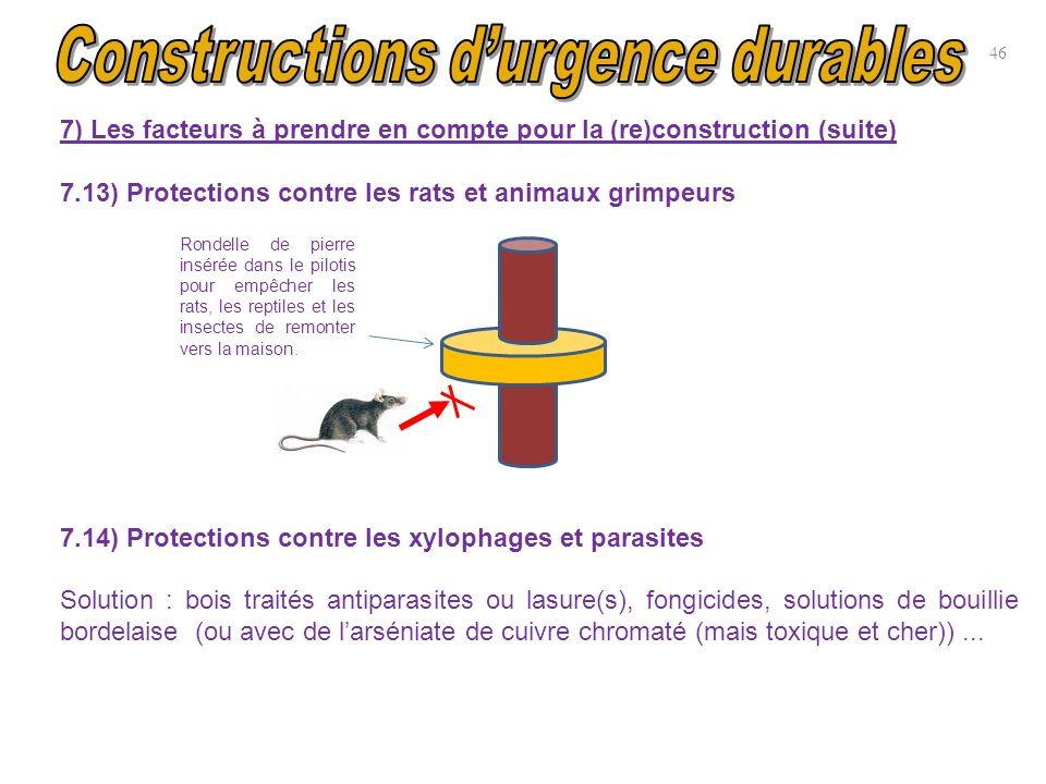 7) Les facteurs à prendre en compte pour la (re)construction (suite) 7.13) Protections contre les rats et animaux grimpeurs 7.14) Protections contre l