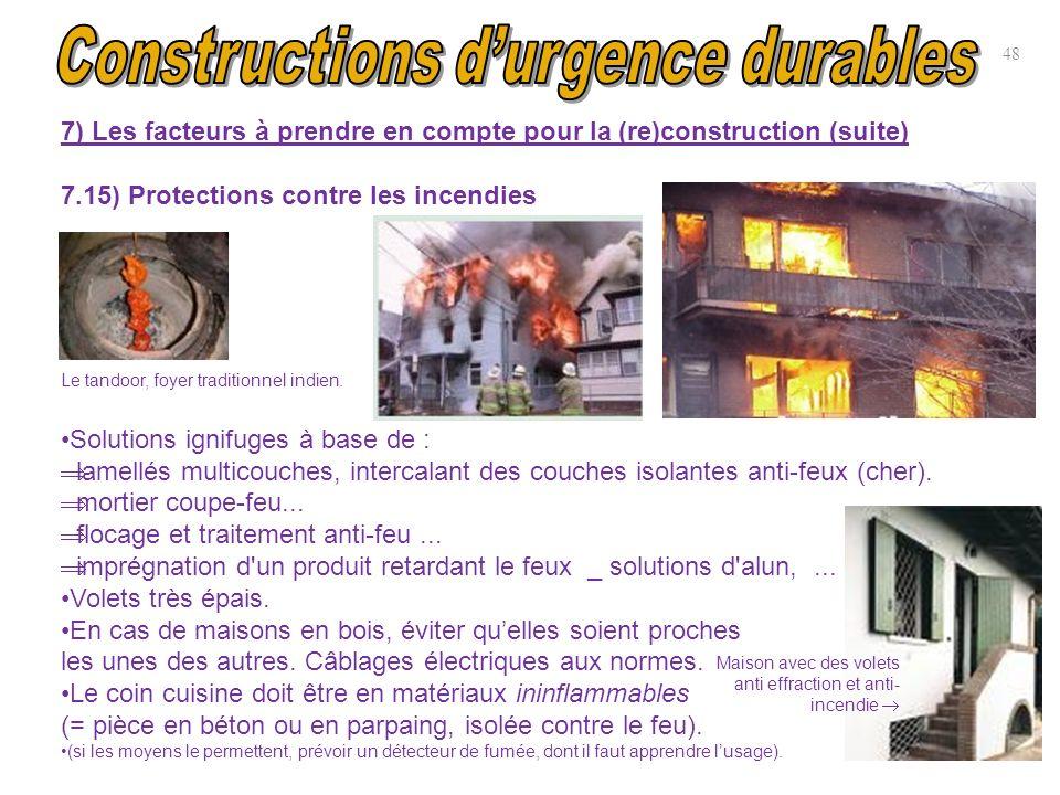 7) Les facteurs à prendre en compte pour la (re)construction (suite) 7.15) Protections contre les incendies Le tandoor, foyer traditionnel indien. Sol