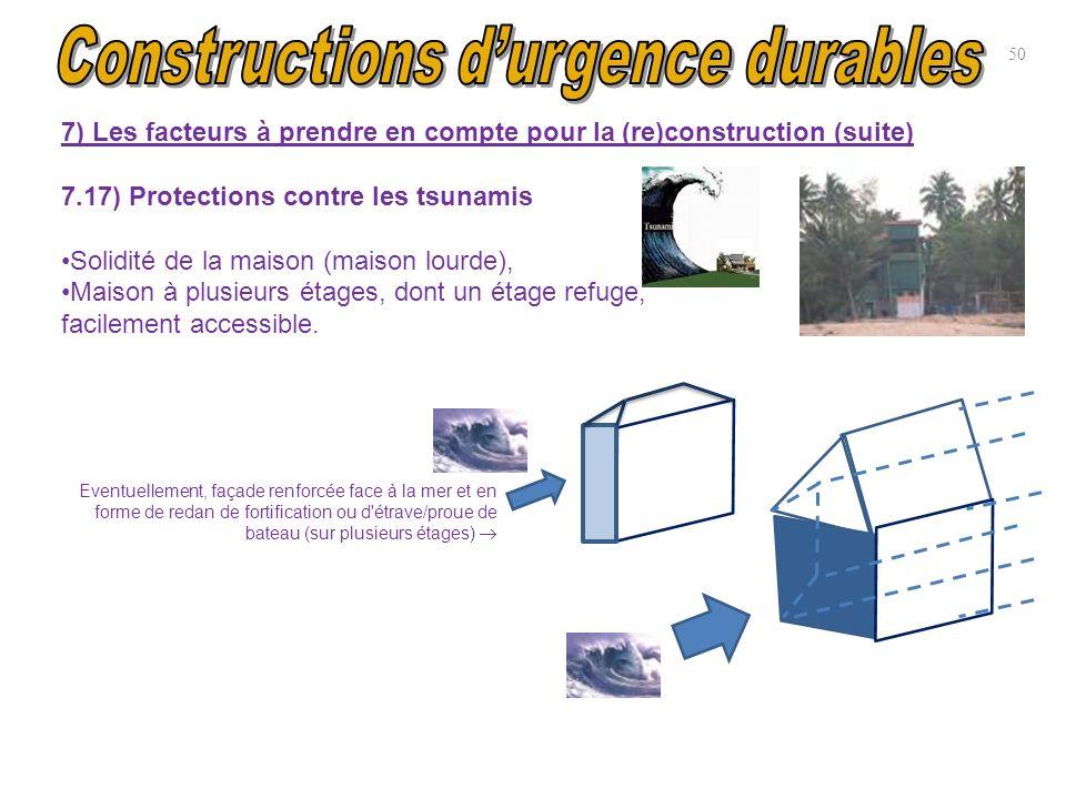 7) Les facteurs à prendre en compte pour la (re)construction (suite) 7.17) Protections contre les tsunamis Solidité de la maison (maison lourde), Mais