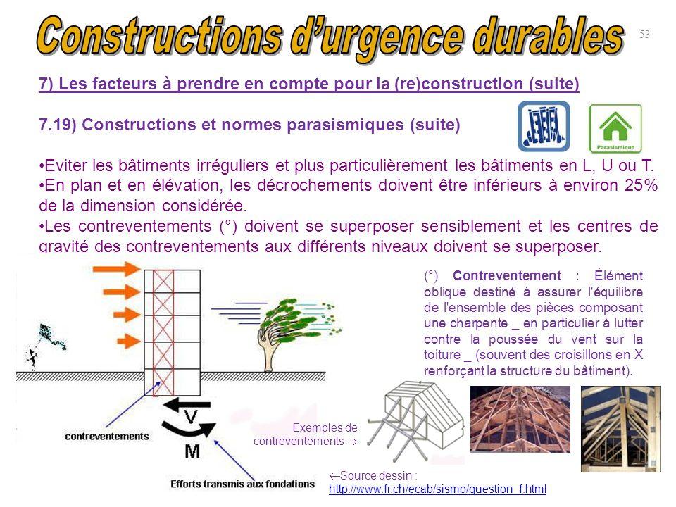 7) Les facteurs à prendre en compte pour la (re)construction (suite) 7.19) Constructions et normes parasismiques (suite) Eviter les bâtiments irréguli