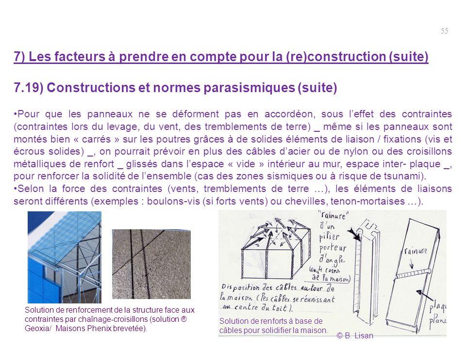55 7) Les facteurs à prendre en compte pour la (re)construction (suite) 7.19) Constructions et normes parasismiques (suite) Pour que les panneaux ne s