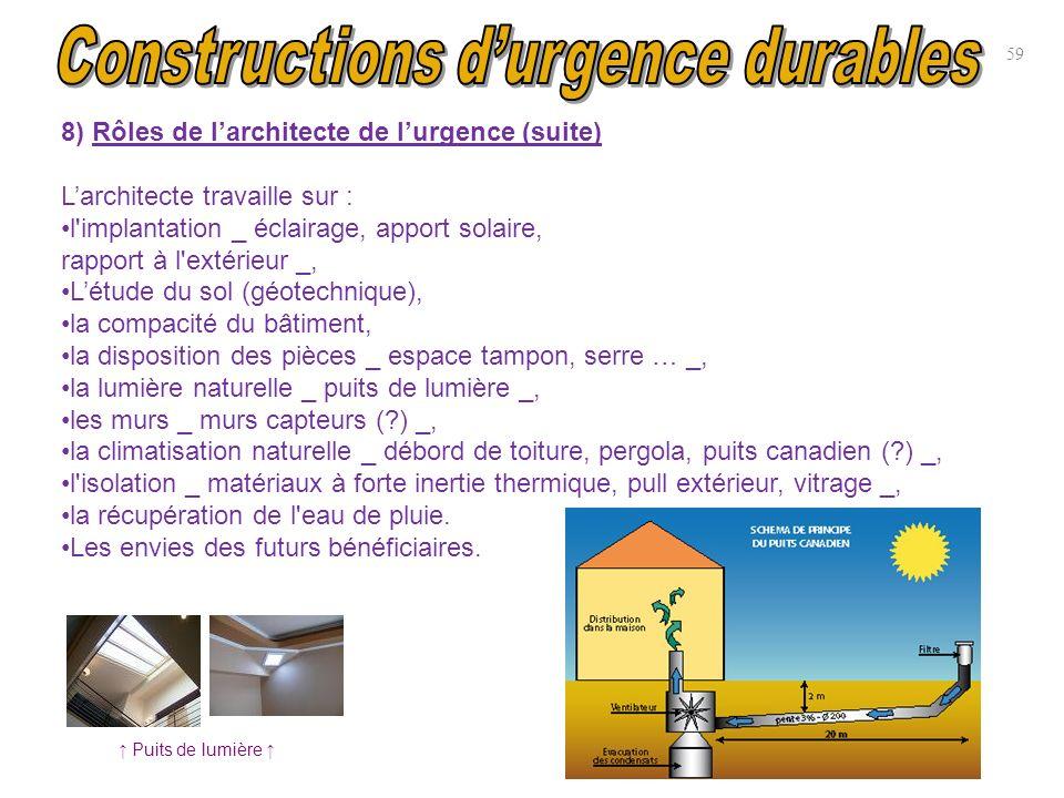 8) Rôles de larchitecte de lurgence (suite) Larchitecte travaille sur : l'implantation _ éclairage, apport solaire, rapport à l'extérieur _, Létude du