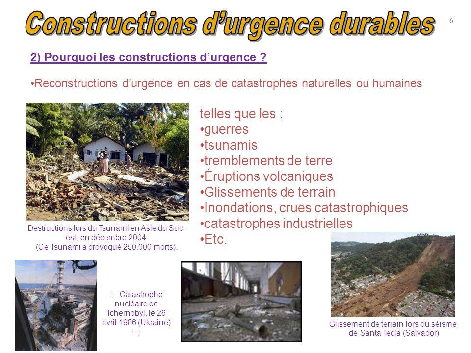 Reconstructions durgence en cas de catastrophes naturelles ou humaines Destructions lors du Tsunami en Asie du Sud- est, en décembre 2004. (Ce Tsunami