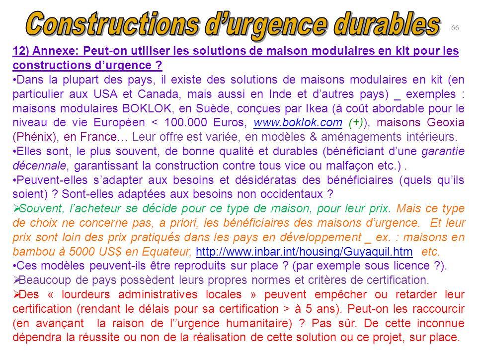 12) Annexe: Peut-on utiliser les solutions de maison modulaires en kit pour les constructions durgence ? Dans la plupart des pays, il existe des solut