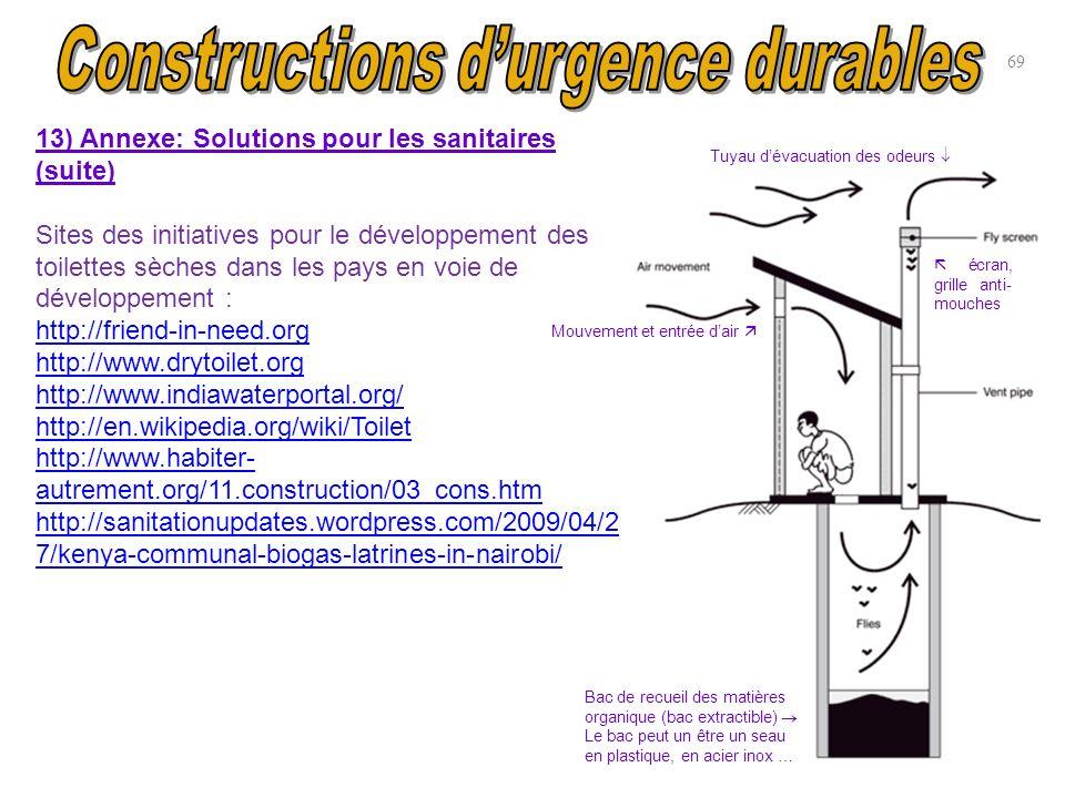 69 13) Annexe: Solutions pour les sanitaires (suite) Sites des initiatives pour le développement des toilettes sèches dans les pays en voie de dévelop