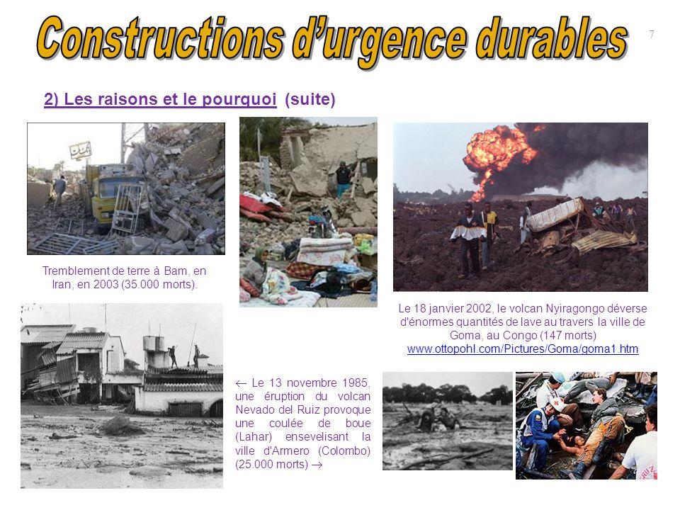 Tremblement de terre à Bam, en Iran, en 2003 (35.000 morts). 2) Les raisons et le pourquoi (suite) 7 Le 18 janvier 2002, le volcan Nyiragongo déverse