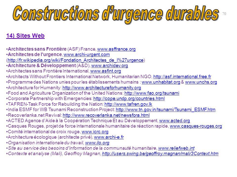 14) Sites Web Architectes sans Frontière (ASF) France, www.asffrance.orgwww.asffrance.org Architectes de l'urgence, www.archi-urgent.com (http://fr.wi