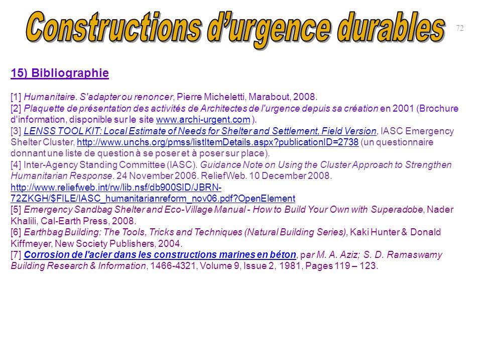15) Bibliographie [1] Humanitaire. S'adapter ou renoncer, Pierre Micheletti, Marabout, 2008. [2] Plaquette de présentation des activités de Architecte