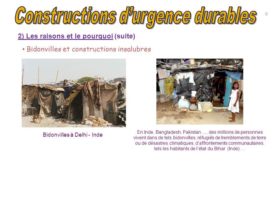 Bidonvilles et constructions insalubres Bidonvilles à Delhi - Inde En Inde, Bangladesh, Pakistan …, des millions de personnes vivent dans de tels bido