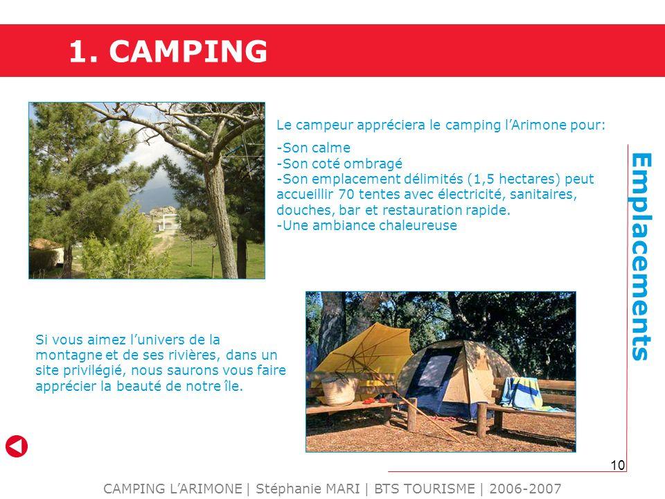10 CAMPING LARIMONE | Stéphanie MARI | BTS TOURISME | 2006-2007 Emplacements Le campeur appréciera le camping lArimone pour: -Son calme -Son coté ombr