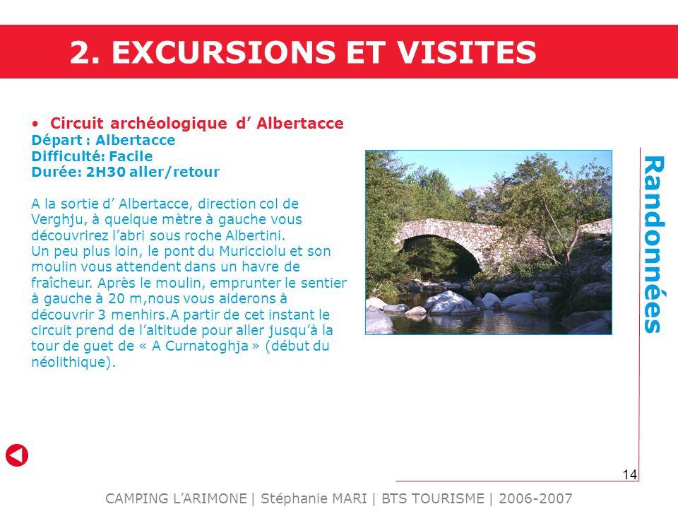 14 CAMPING LARIMONE | Stéphanie MARI | BTS TOURISME | 2006-2007 Randonnées Circuit archéologique d Albertacce Départ : Albertacce Difficulté: Facile D