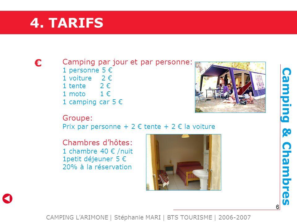 6 4. TARIFS CAMPING LARIMONE | Stéphanie MARI | BTS TOURISME | 2006-2007 Camping par jour et par personne: 1 personne 5 1 voiture 2 1 tente 2 1 moto 1