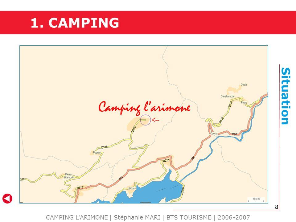 8 1. CAMPING CAMPING LARIMONE | Stéphanie MARI | BTS TOURISME | 2006-2007 Situation