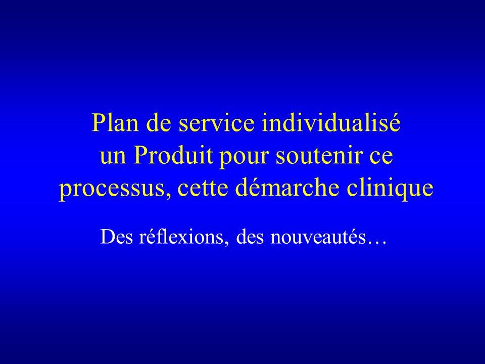On nattend pas davoir tout décider sur les services pour débuter le PSI, dès la prise en charge (ou lévaluation...) La tenue dune réunion inter pour la planification est laissée au jugement du C avec la personne (en appui avec les autres intervenants, MF) Directives ou aides Le C na pas à animer mais est concerné et participe au PII déquipe (advocacy) Le C offre son assistance ou soutient la personne pour choisir/définir les interventions (PI) des ressources privées, communautaires et en intersectoriel OÉMC ou autre évaluation fait par les autres équipes Le PSI nécessite une concertation