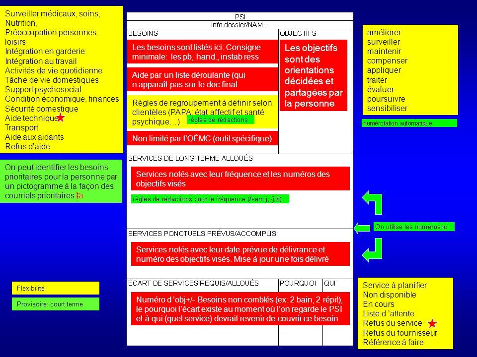 Contenu des 4 diapos suivantes 1) Proposition de produit PSI –comment ça marche 2) Quelles sont les fonctions du PSI –Utilité et utilisation sont aidées 3) Quels développements avec linformatique –nouvelles fonctions 4) Deux fonctions à démêler –du support pour le suivi et le monitorage des PSI (évaluation des PSI)