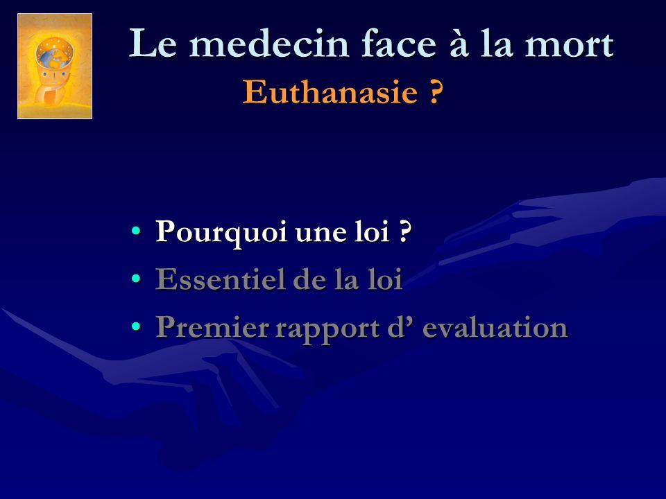 Le medecin face à la mort Euthanasie ? Le medecin face à la mort Euthanasie ? Pourquoi une loi ?Pourquoi une loi ? Essentiel de la loiEssentiel de la