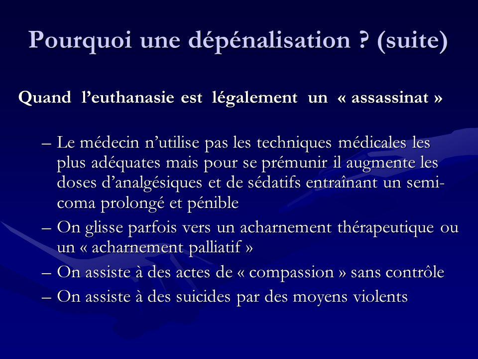 Quand leuthanasie est légalement un « assassinat » –Le médecin nutilise pas les techniques médicales les plus adéquates mais pour se prémunir il augme