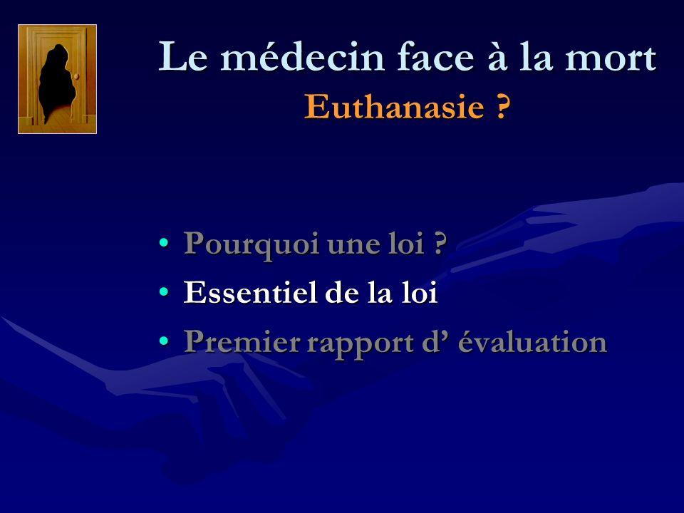 Le médecin face à la mort Euthanasie ? Pourquoi une loi ?Pourquoi une loi ? Essentiel de la loiEssentiel de la loi Premier rapport d évaluationPremier