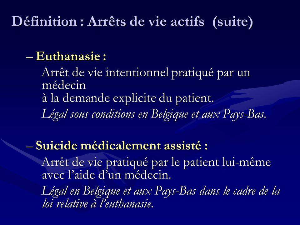 Définition : Arrêts de vie actifs (suite) –Euthanasie : Arrêt de vie intentionnel pratiqué par un médecin à la demande explicite du patient. Légal sou