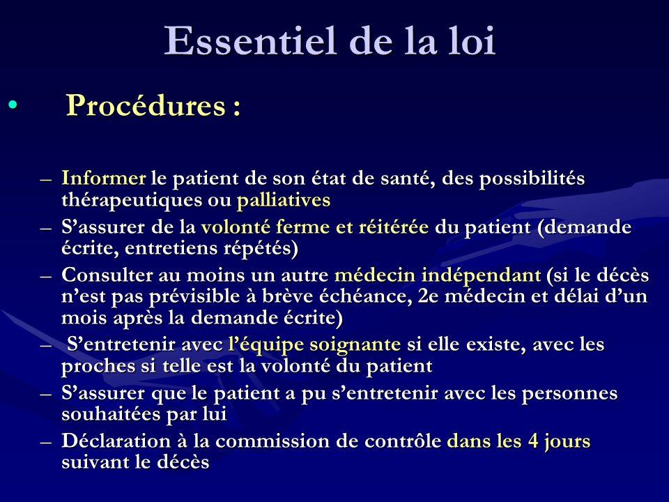 Essentiel de la loi Procédures : Procédures : –Informer le patient de son état de santé, des possibilités thérapeutiques ou palliatives –Sassurer de l