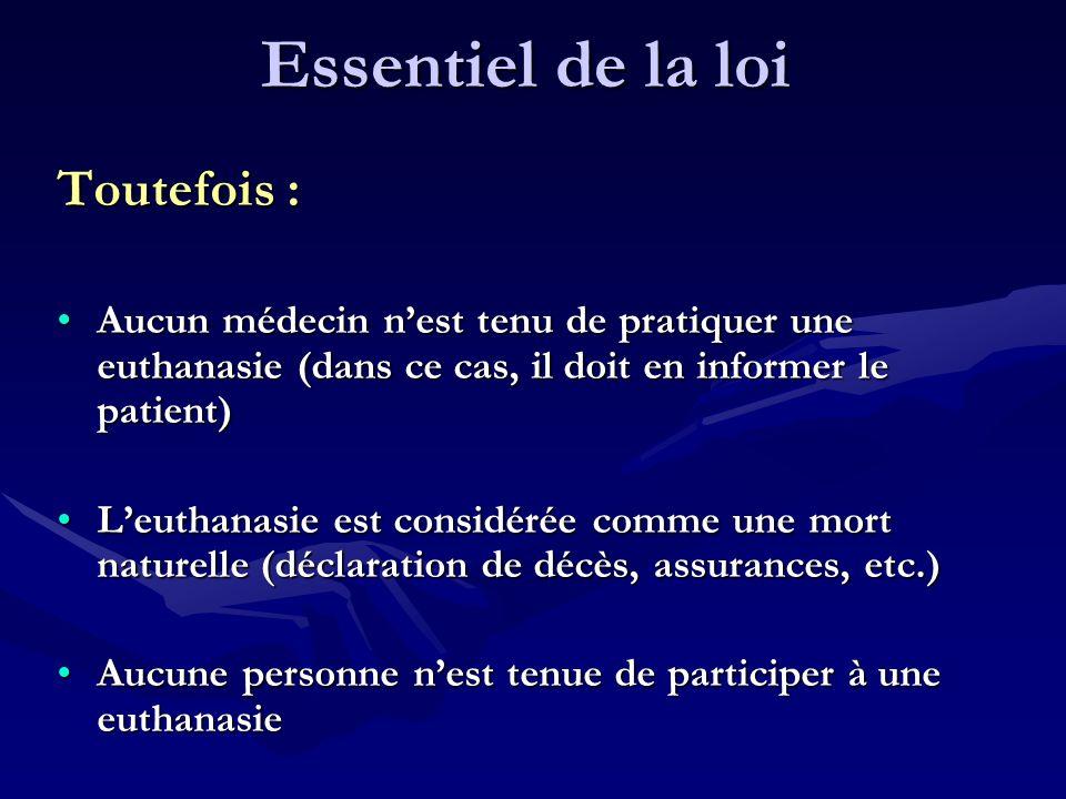 Essentiel de la loi Toutefois : Aucun médecin nest tenu de pratiquer une euthanasie (dans ce cas, il doit en informer le patient)Aucun médecin nest te