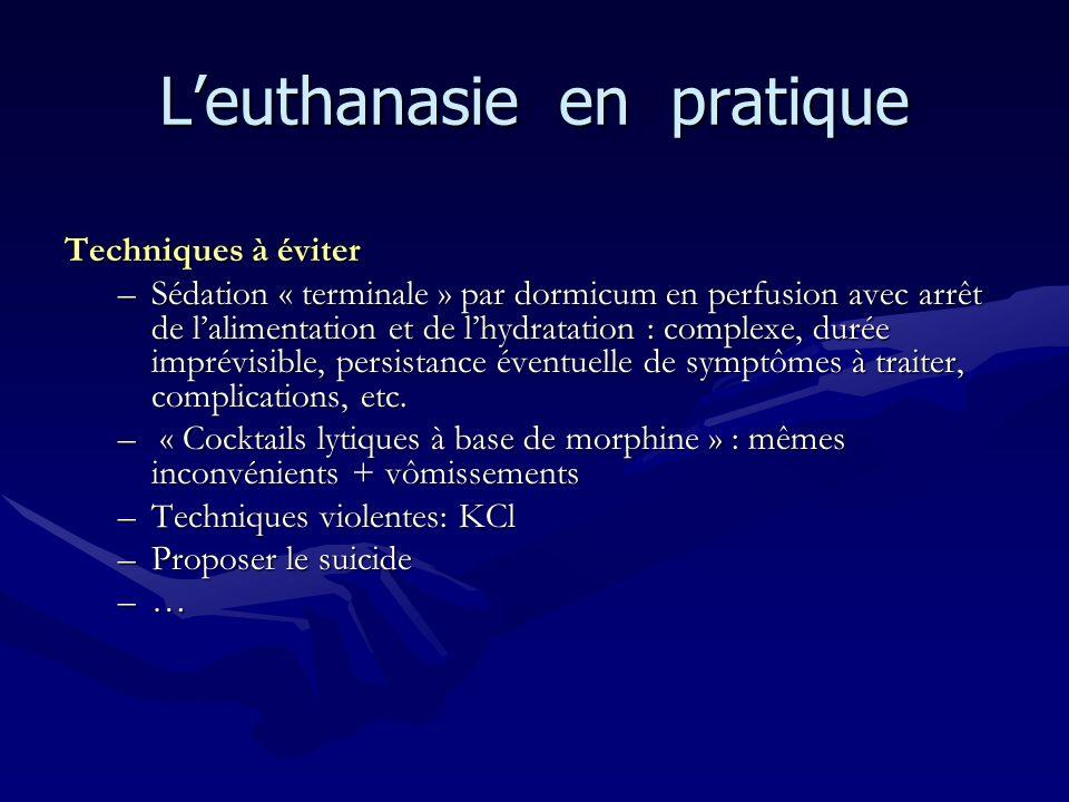Leuthanasie en pratique Techniques à éviter –Sédation « terminale » par dormicum en perfusion avec arrêt de lalimentation et de lhydratation : complex