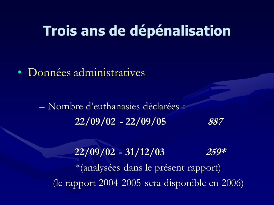 Données administrativesDonnées administratives –Nombre deuthanasies déclarées : 22/09/02 - 22/09/05 887 22/09/02 - 31/12/03 259* 22/09/02 - 31/12/03 2