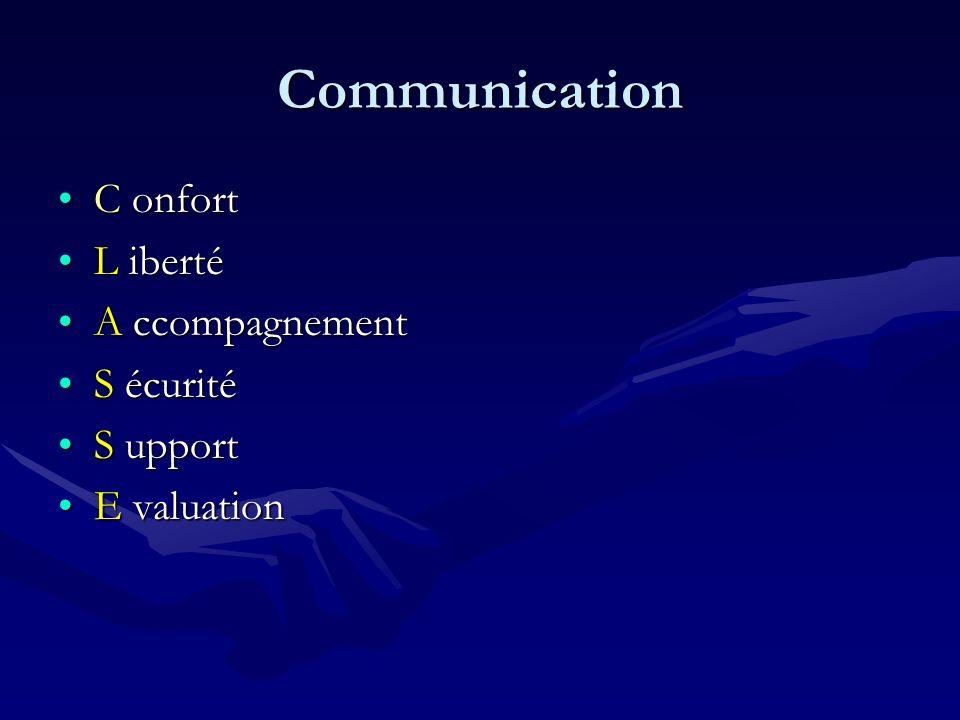 Communication C onfortC onfort L ibertéL iberté A ccompagnementA ccompagnement S écuritéS écurité S upportS upport E valuationE valuation