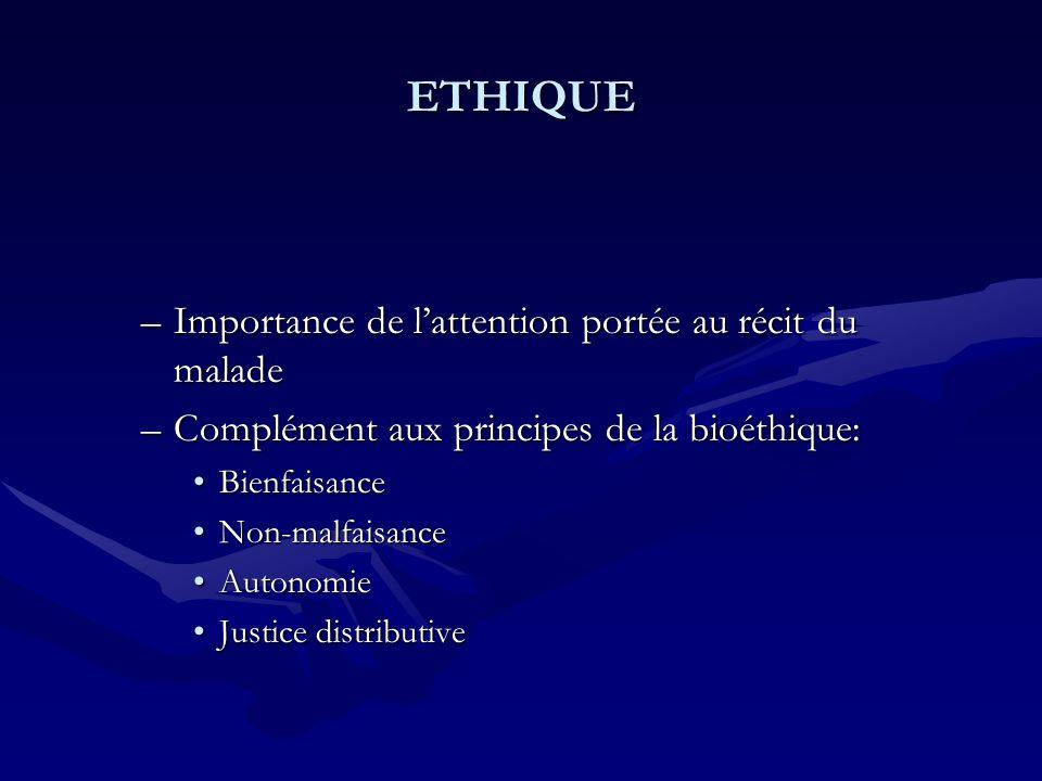 ETHIQUE –Importance de lattention portée au récit du malade –Complément aux principes de la bioéthique: BienfaisanceBienfaisance Non-malfaisanceNon-ma
