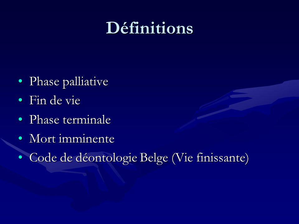 Définitions Phase palliativePhase palliative Fin de vieFin de vie Phase terminalePhase terminale Mort imminenteMort imminente Code de déontologie Belg