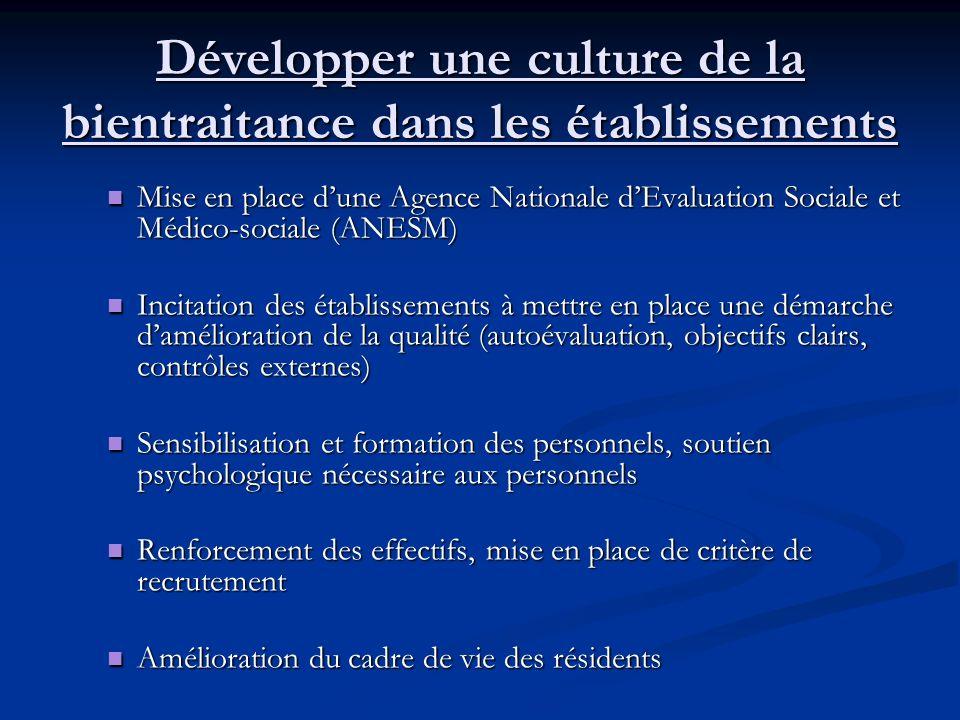 Développer une culture de la bientraitance dans les établissements Mise en place dune Agence Nationale dEvaluation Sociale et Médico-sociale (ANESM) M