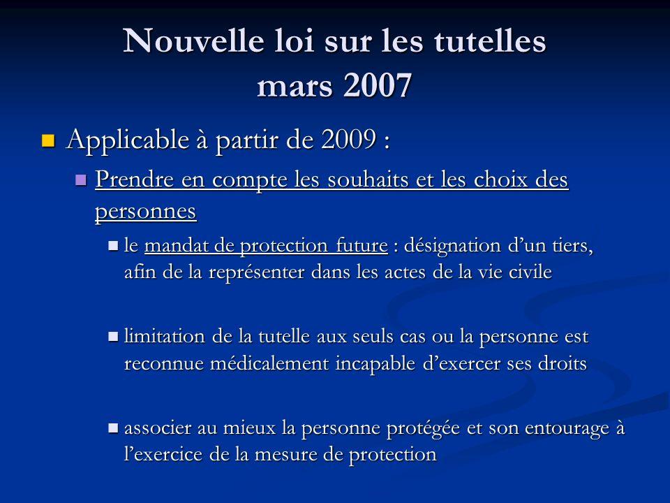Nouvelle loi sur les tutelles mars 2007 Applicable à partir de 2009 : Applicable à partir de 2009 : Prendre en compte les souhaits et les choix des pe