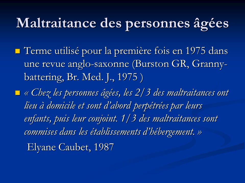 Maltraitance des personnes âgées Terme utilisé pour la première fois en 1975 dans une revue anglo-saxonne (Burston GR, Granny- battering, Br. Med. J.,