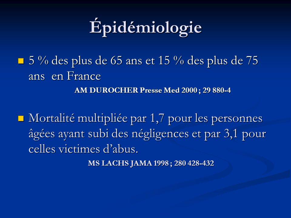 Épidémiologie 5 % des plus de 65 ans et 15 % des plus de 75 ans en France 5 % des plus de 65 ans et 15 % des plus de 75 ans en France AM DUROCHER Pres