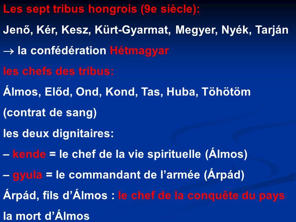Les sept tribus hongrois (9e siècle): Jenő, Kér, Kesz, Kürt-Gyarmat, Megyer, Nyék, Tarján la confédération Hétmagyar les chefs des tribus: Álmos, Előd